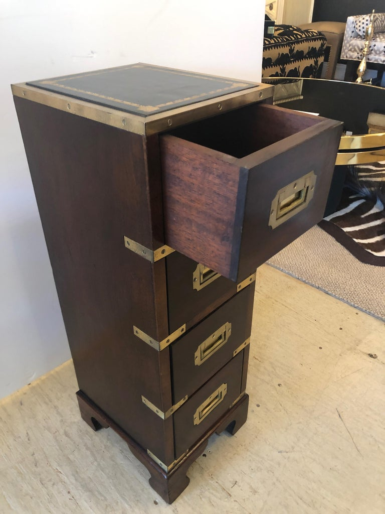 Sublimely Elegant Tall Narrow English Campaign Chest or Side End Table For Sale 8