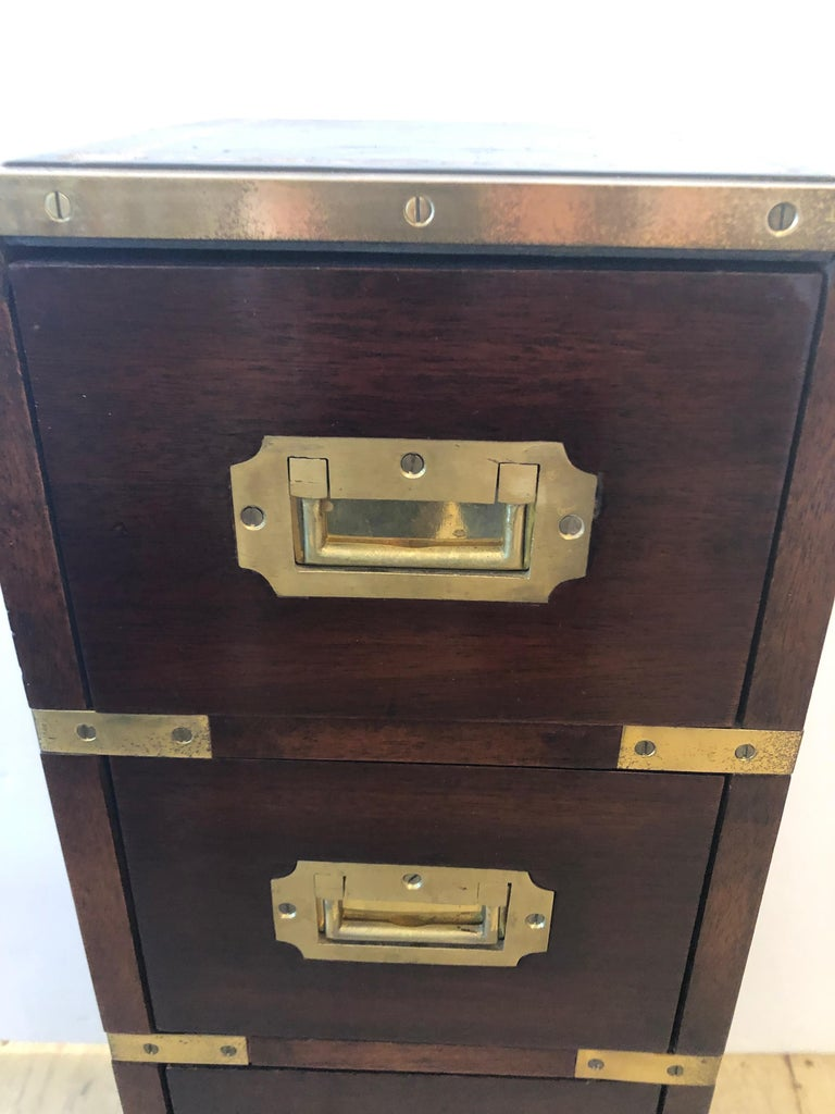 Early 20th Century Sublimely Elegant Tall Narrow English Campaign Chest or Side End Table For Sale