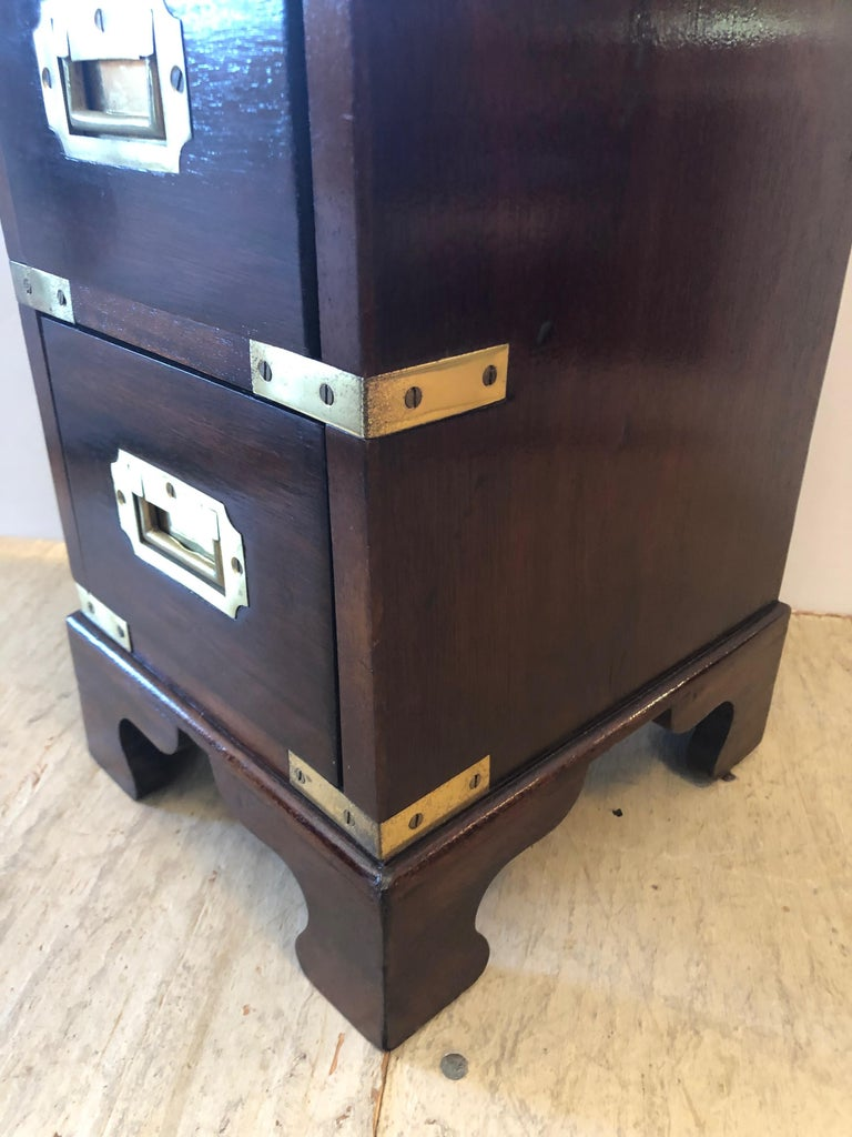 Mahogany Sublimely Elegant Tall Narrow English Campaign Chest or Side End Table For Sale