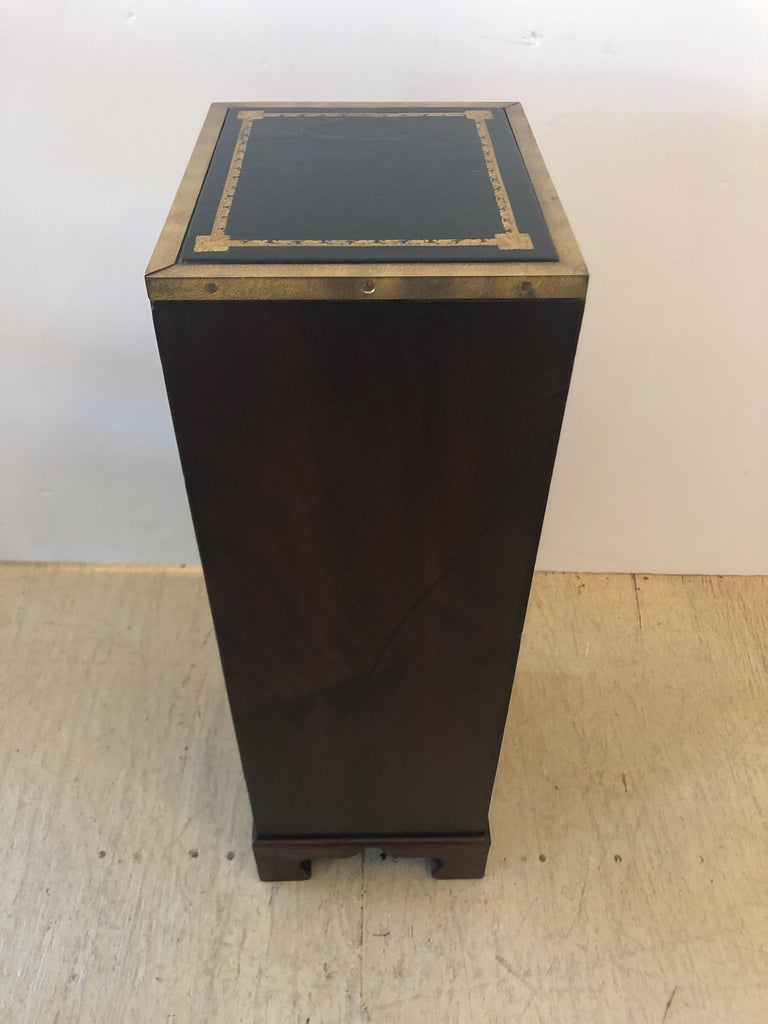 Sublimely Elegant Tall Narrow English Campaign Chest or Side End Table For Sale 2