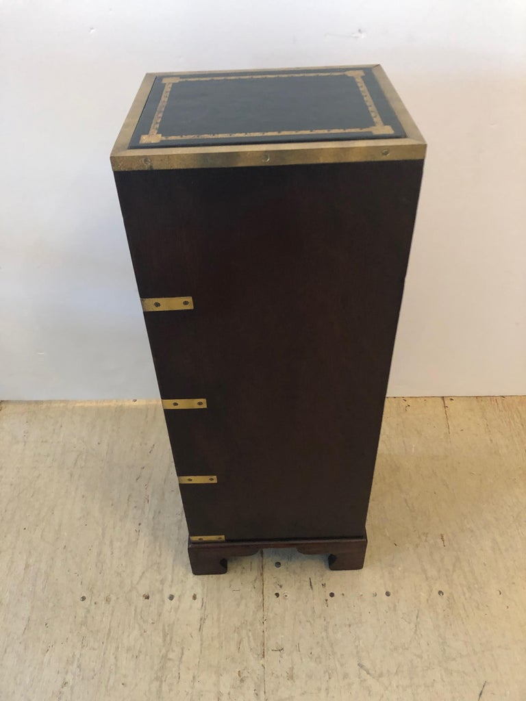Sublimely Elegant Tall Narrow English Campaign Chest or Side End Table For Sale 3