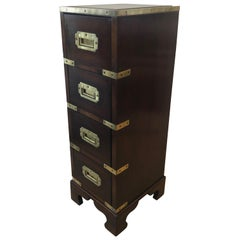 Sublimely Elegant Tall Narrow English Campaign Chest or Side End Table