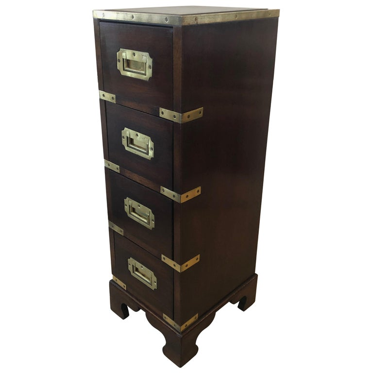 Sublimely Elegant Tall Narrow English Campaign Chest or Side End Table For Sale