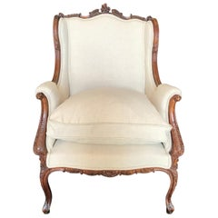 Sublimely Pretty French Louis XV 19th Century Carved Walnut Armchair