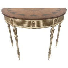 Sublimely Pretty Satinwood Inlay Painted and Gilded Demilune Console Table