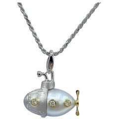 Submarine White Diamond Sapphire Yellow White 18Kt gold Pendant/ Necklace Charm