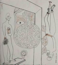 "Figurative, Bird, Dry Pastel, Tea Liquor on Paper, Contemporary Artist""In Stock"""