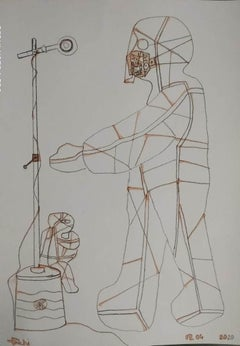 "Speaker, Microphone, Dry Pastel & Tea Liquor on Paper, Indian Artist ""In Stock"""
