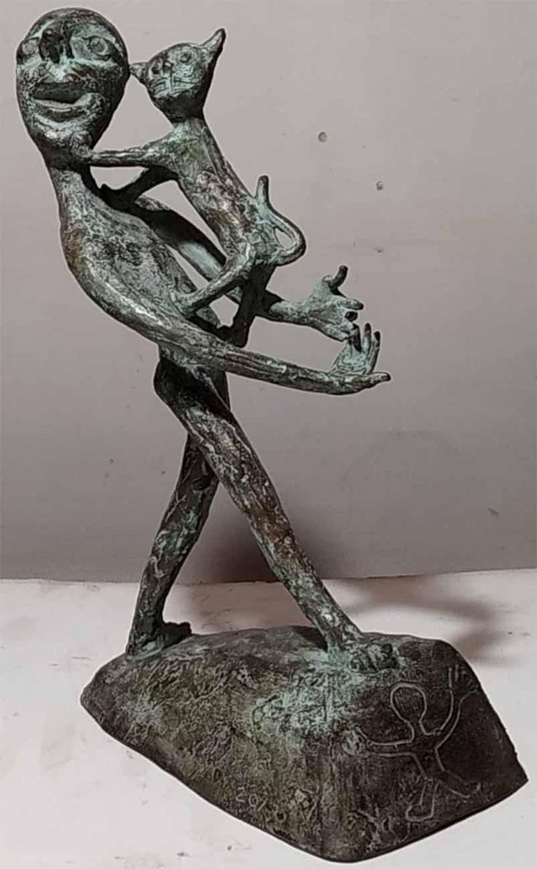 "Subrata Biswas Figurative Sculpture - Amigo, Man with a Cat, Indian Folk Style,Green PatinaBronze Sculpture ""In Stock"""