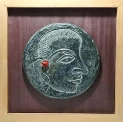 "Relief, Face, Bronze Sculpture, Green by Contemporary Indian Artist ""In Stock"""