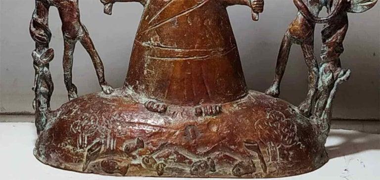 Woman-Mother Nature, Two Children, Green Patina Bronze Sculpture,
