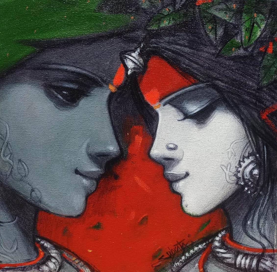 """Couple, Spiritual, Acrylic on Canvas, Green, Red, Contemporary Artist """"In Stock"""""""