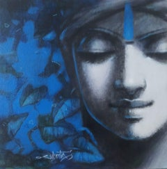 """Man in Turban,Couple, Set of 2, Acrylic on Canvas, Blue, Black, Grey  """"In Stock"""""""
