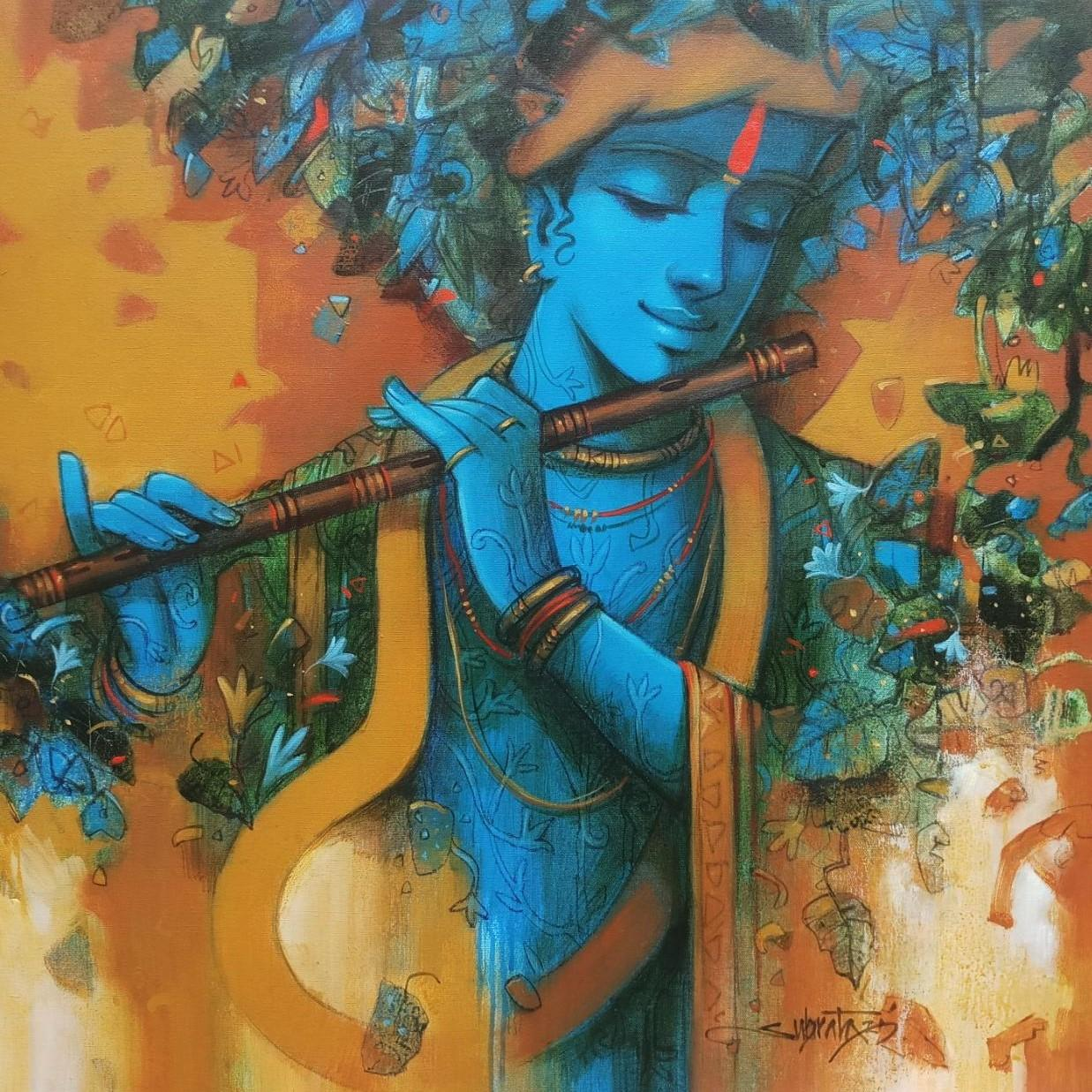 """Krishna, Acrylic on Canvas by Contemporary, Blue, Yellow, Green """"In Stock"""""""