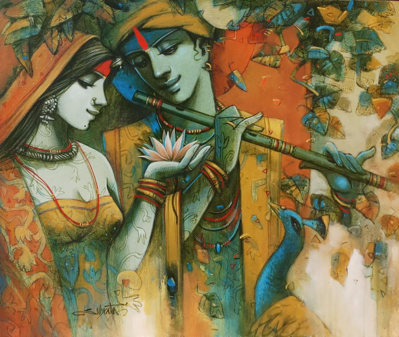 """Krishna & Radha ,Figurative, Acrylic On Canvas, Green, Brown, Yellow """"In Stock"""""""
