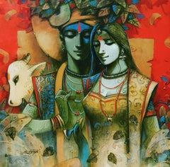"""Krishna & Radha, Rasalila, Spiritual, Acrylic, Red, Green, Brown, Blue""""In Stock"""""""