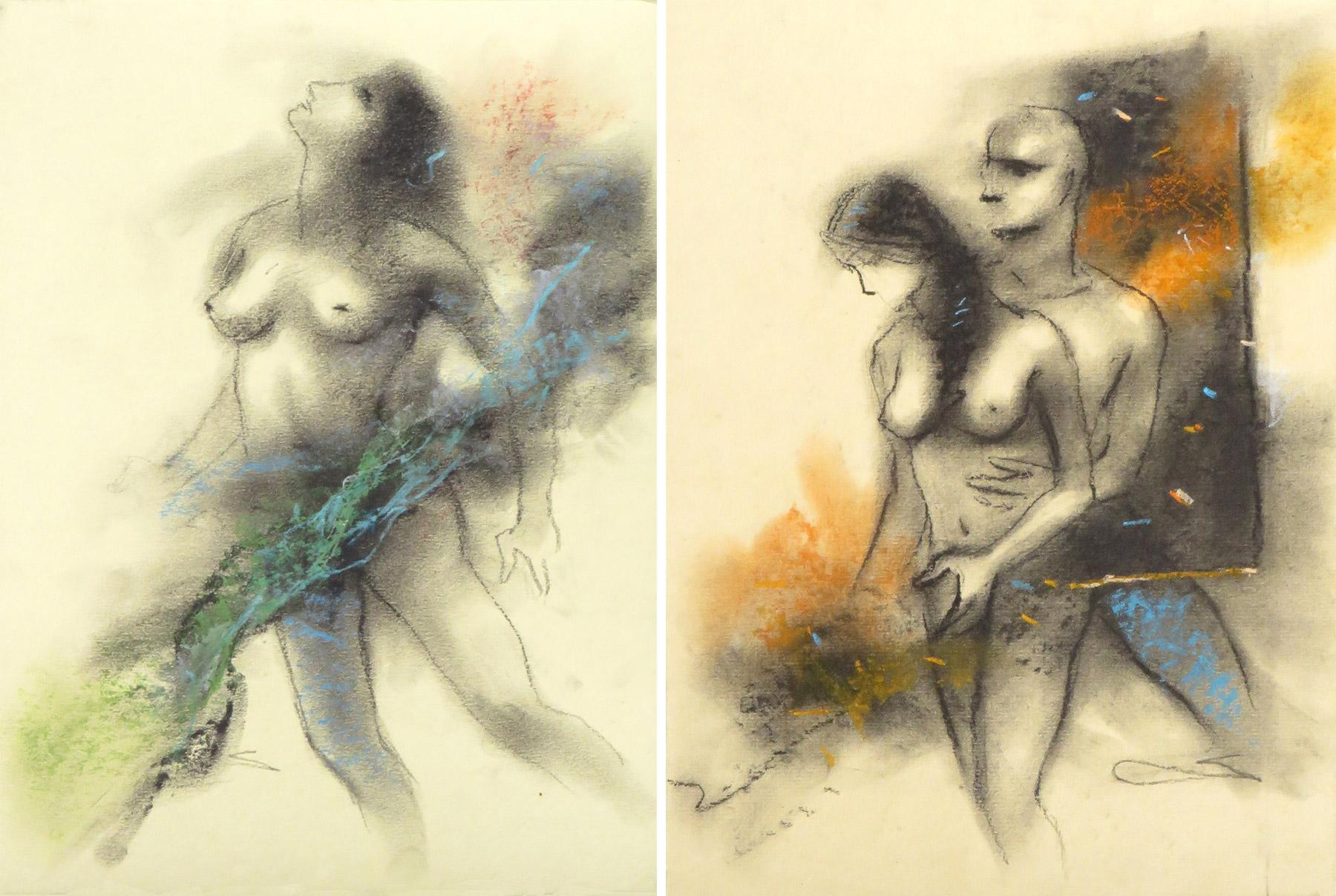 """Couple, Nude Drawing, Charcoal & Pastel on Board, Combo Pair """"In Stock"""""""