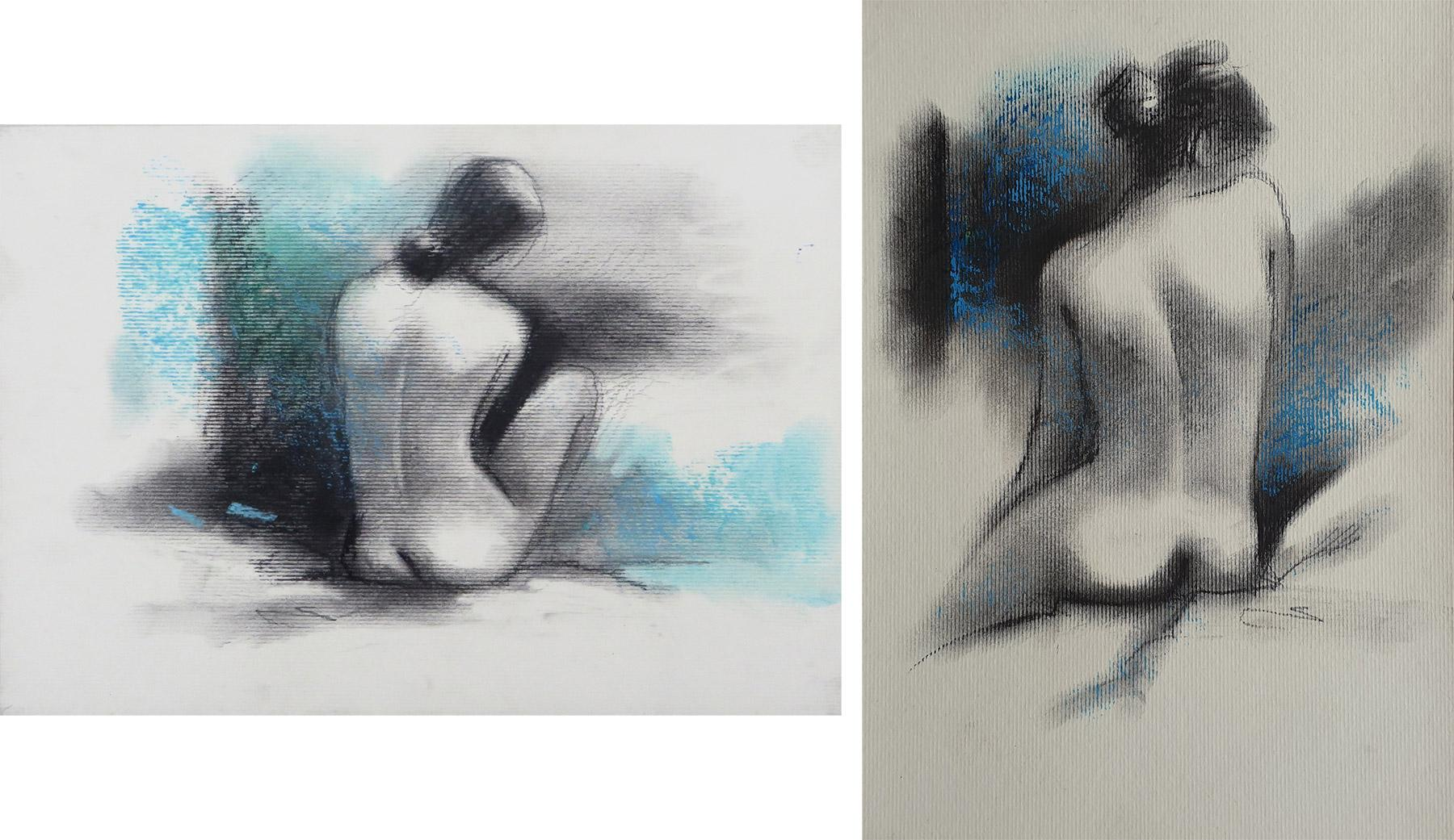 """Nude, Seated Woman, Charcoal & Pastel on Board, Green and black """"In Stock"""""""