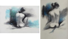 "Nude, Seated Woman, Charcoal & Pastel on Board, Green and black ""In Stock"""