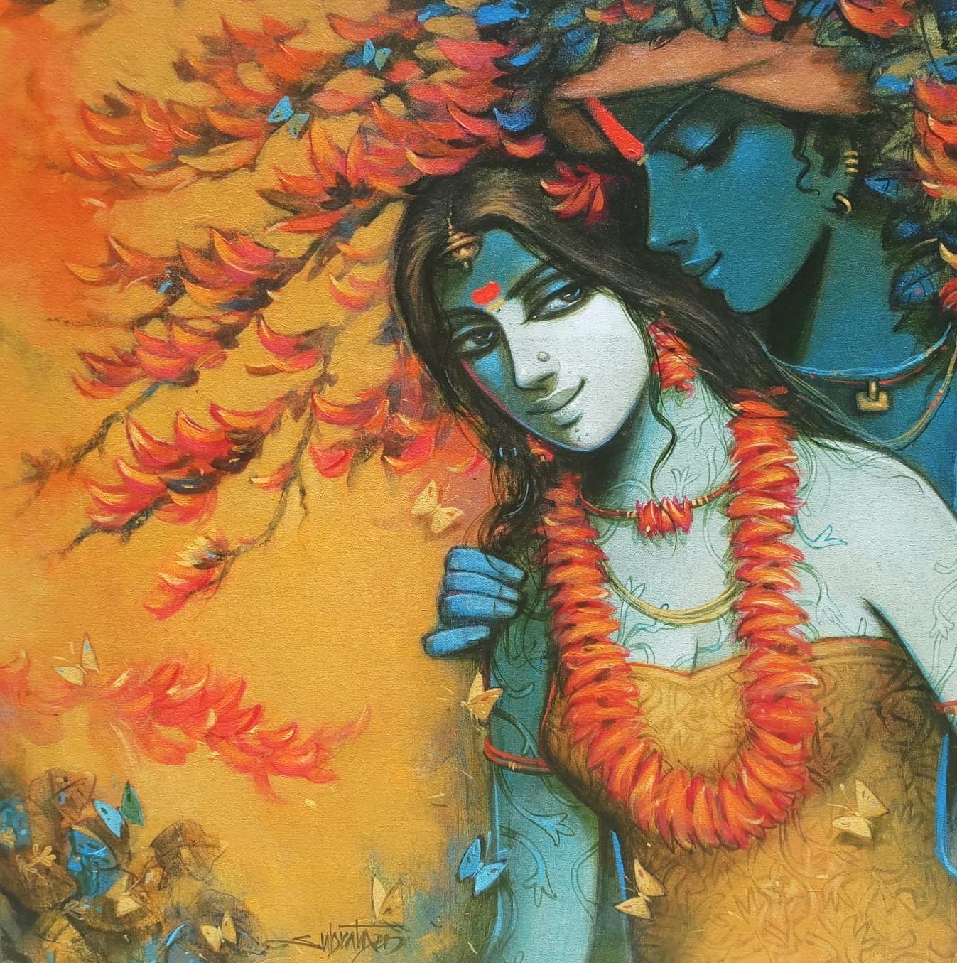 """Radha Krishna, Acrylic Canvas, Yellow, Orange, Blue, mythology Indian """"In Stock"""""""