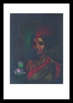 """She-I, Bath, Pastel on paper, Red, Pink, Green by Indian Artist """"In Stock"""""""