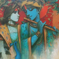 """Tune of Love, Spiritual, Acrylic on Canvas, Green, Red, Indian Artist """"In Stock"""""""
