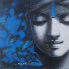 """Untitled, Acrylic on Canvas, Blue, Black, Grey by Contemporary """"In Stock"""""""