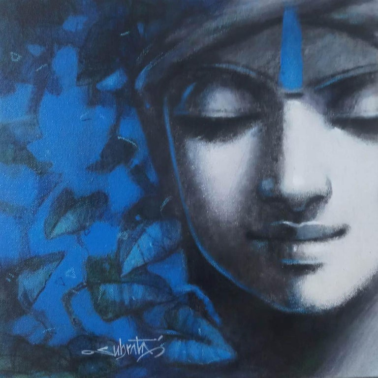 """Subrata Das Figurative Painting - Untitled, Acrylic on Canvas, Blue, Black, Grey by Contemporary """"In Stock"""""""