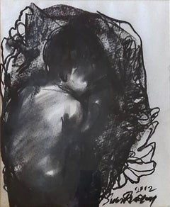 "Childhood, Charcoal on Board by Contemporary Indian Artist ""In Stock"""