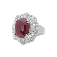 Substantial 18 Karat White Gold, Ruby and Diamond Ring