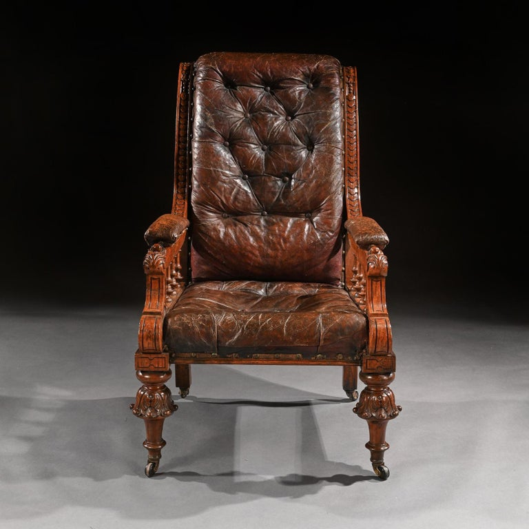 British Substantial 19th Century Oak and Moroccan Leather Armchair For Sale