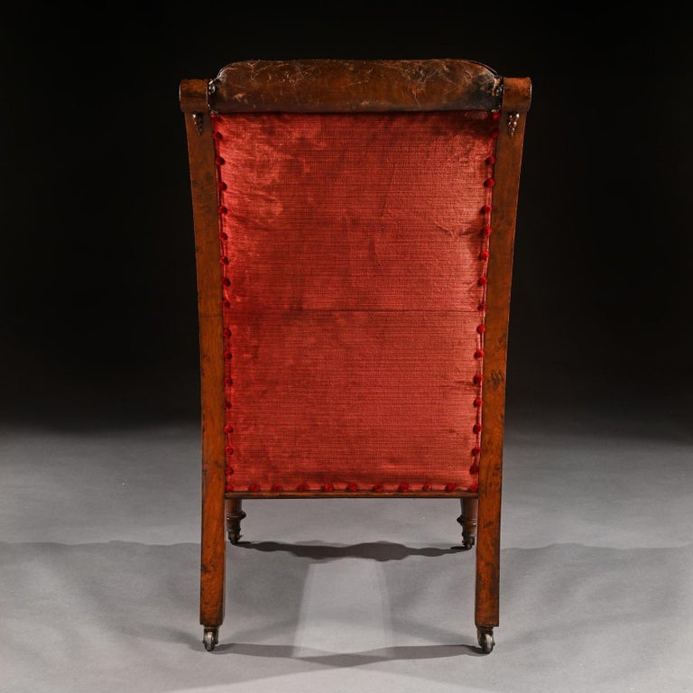 Substantial 19th Century Oak and Moroccan Leather Armchair In Good Condition For Sale In Benington, Herts