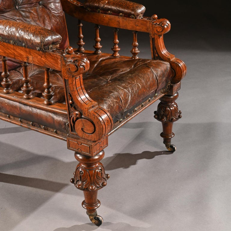 Substantial 19th Century Oak and Moroccan Leather Armchair For Sale 2