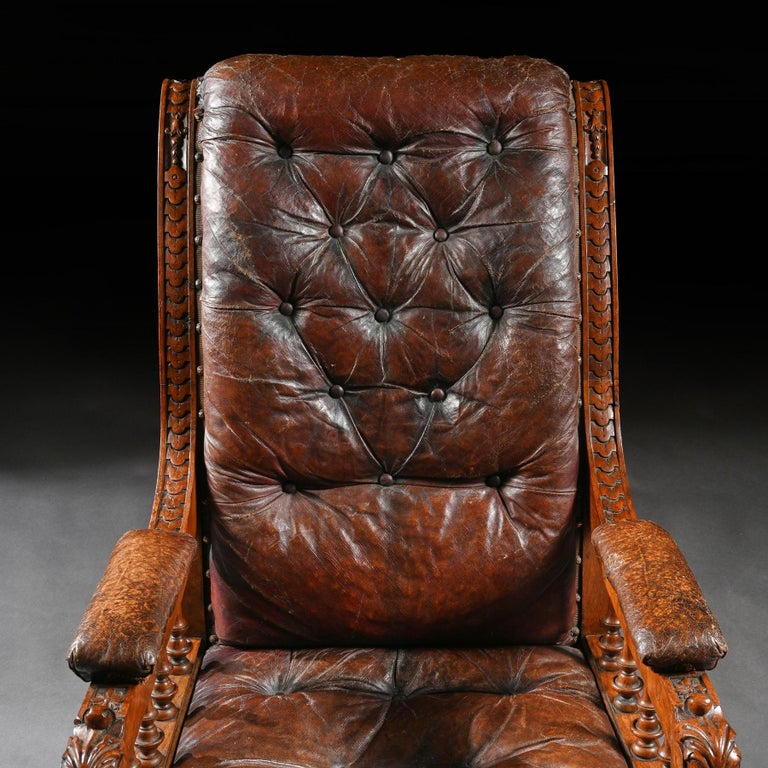 Substantial 19th Century Oak and Moroccan Leather Armchair For Sale 3