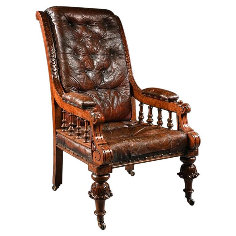 Substantial 19th Century Oak and Moroccan Leather Armchair For Sale