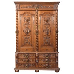 Substantial 19th Century Oak Carved Cabinet