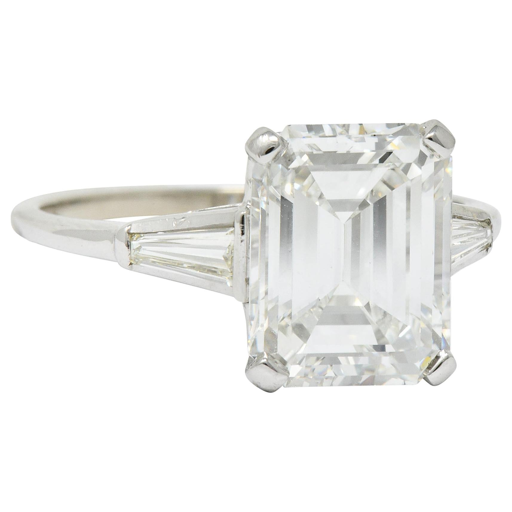 Substantial 4.58 Carat Emerald Cut Diamond Platinum Engagement Ring GIA