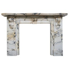 Substantial Antique Victorian Fire Surround in Arabescato Marble