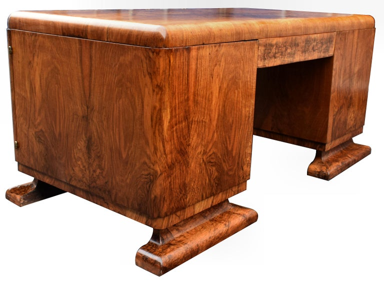 European Substantial Art Deco Walnut Partners Desk, circa 1935 For Sale