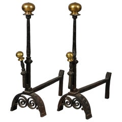 Substantial Bronze and Iron Andirons