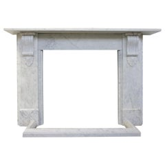 Substantial Corbeled Victorian Carrara Marble Fireplace Surround