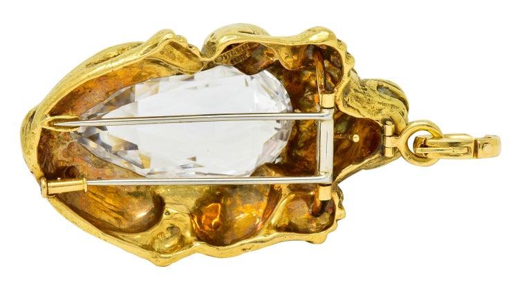 Substantial David Webb Diamond Rock Crystal 18 Karat Gold Lion Pendant Brooch For Sale 5