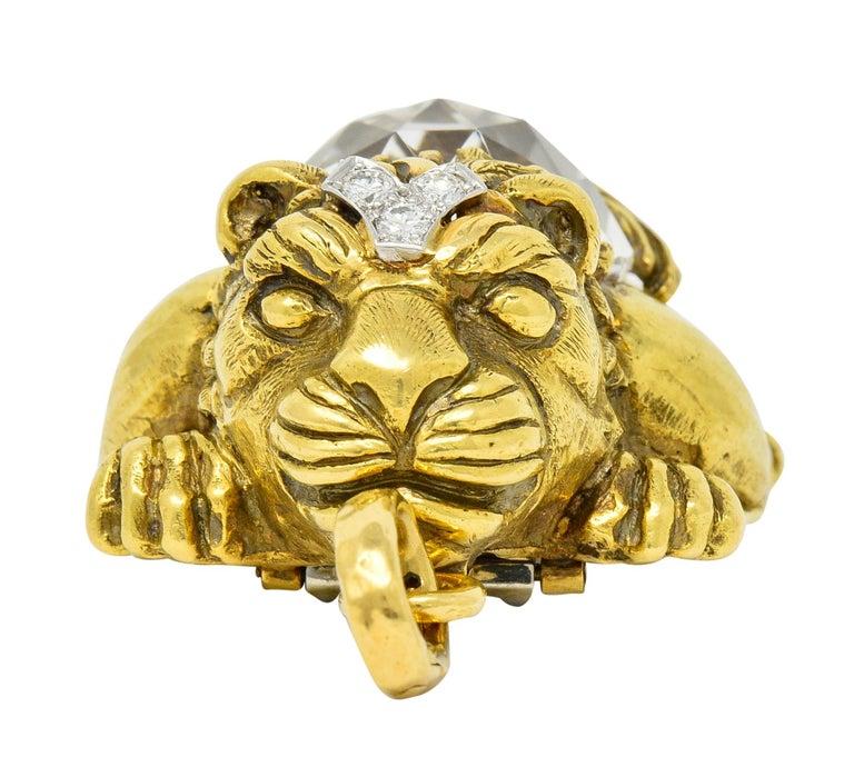 Contemporary Substantial David Webb Diamond Rock Crystal 18 Karat Gold Lion Pendant Brooch For Sale