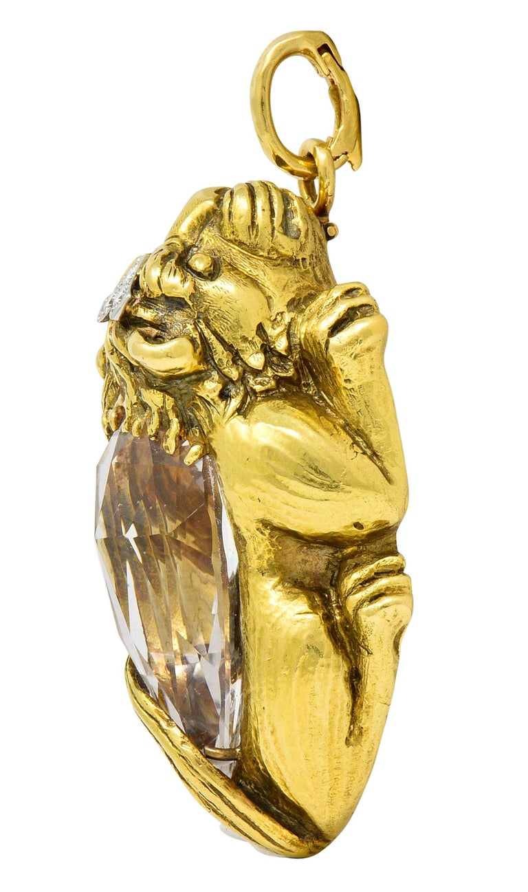 Pear Cut Substantial David Webb Diamond Rock Crystal 18 Karat Gold Lion Pendant Brooch For Sale