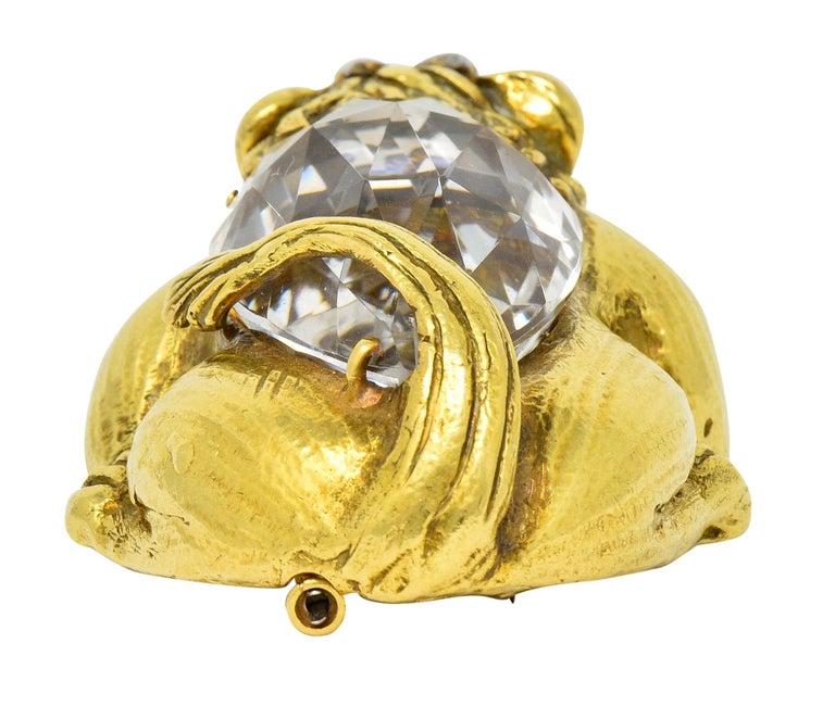 Substantial David Webb Diamond Rock Crystal 18 Karat Gold Lion Pendant Brooch For Sale 3