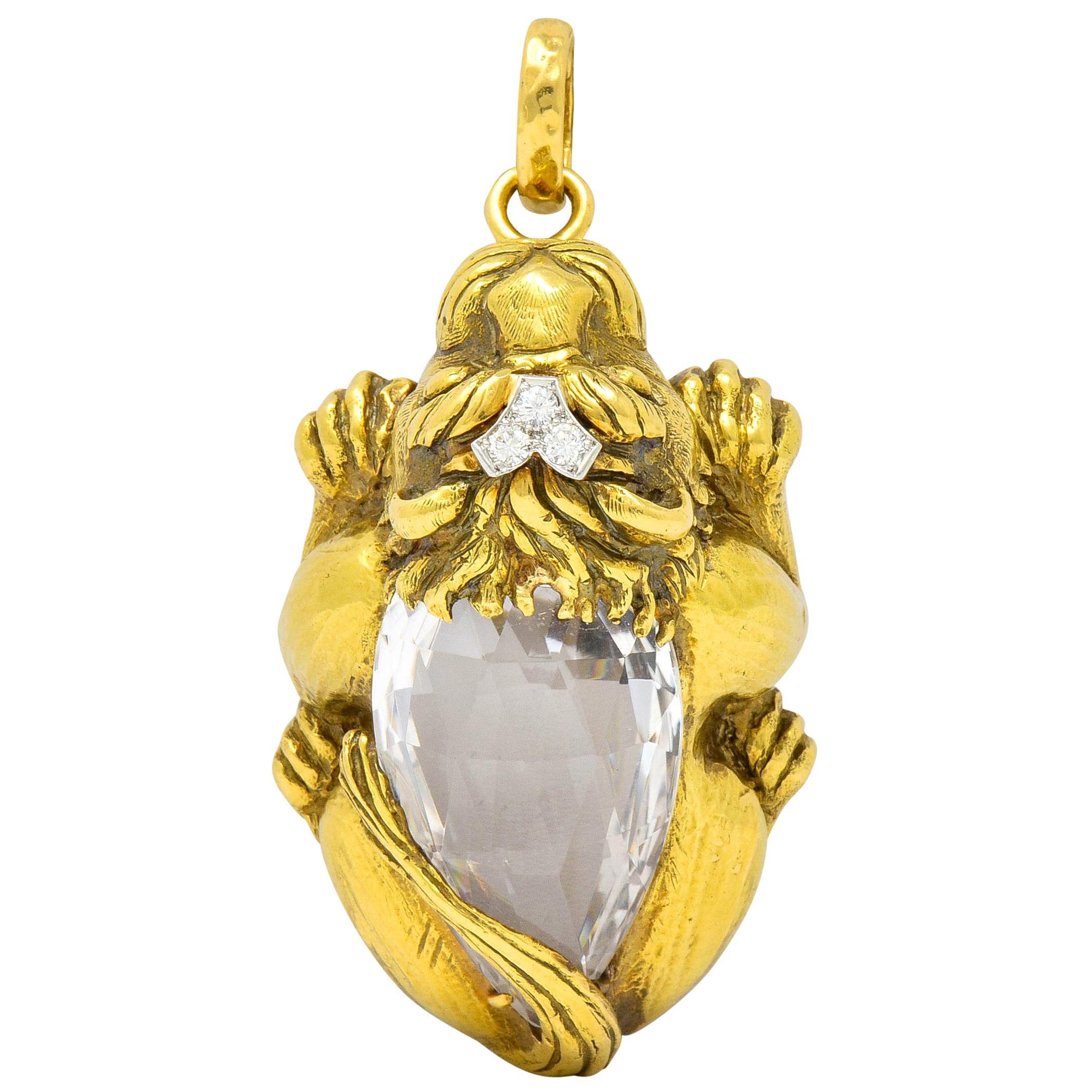 Substantial David Webb Diamond Rock Crystal 18 Karat Gold Lion Pendant Brooch