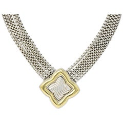 Substantial David Yurman Quatrefoil 18 Karat Gold Sterling Silver Chain Necklace