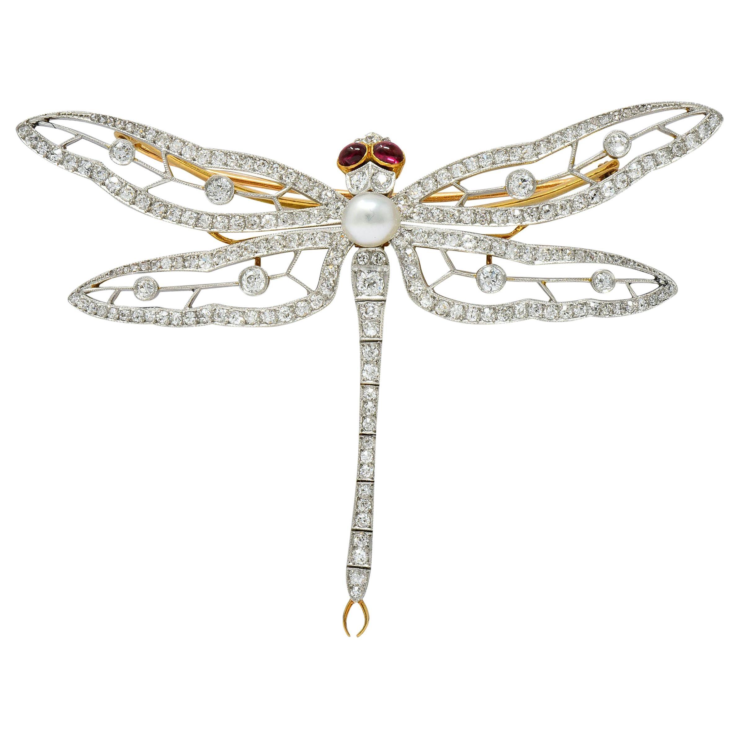 Substantial Edwardian Pearl Diamond Platinum 18 Karat Gold Dragonfly Brooch