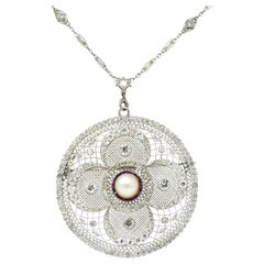 Substantial Edwardian Pearl Diamond Ruby Platinum Swag Pendant Brooch Necklace