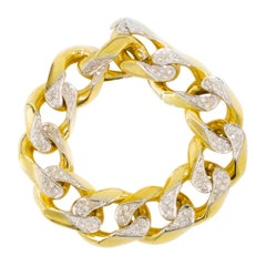 Substantial Estate 14k Yellow Gold and Diamond Curb-Link Bracelet